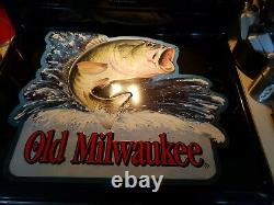 Vintage 90's Stroh Brewery OLD MILWAUKEE Beer BASS FISHING Tin Metal Sign