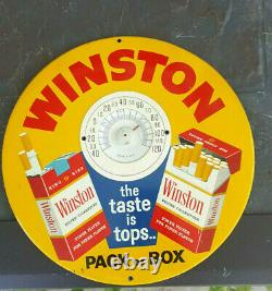 Vintage 9 Toc Winston Cigarette Advertising Tin Thermometer Sign Works Great