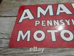 Vintage AMALIE MOTOR OIL GAS STATION METAL ADVERTISING TIN TACKER OLD SIGN