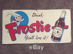 Vintage AUTHENTIC Original FROSTIE Root Beer SODA Metal TIN-SIGN EMBOSSED LOGO