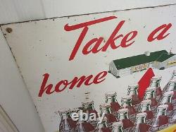 Vintage Advertising 1952 Coke Coca Cola Soda Tin Litho Sign Soda Store 943-z