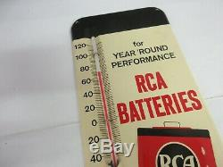 Vintage Advertising Rca Batteries Store Display Tin Thermometer M-339