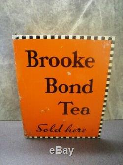 Vintage Advertising Sign Tin Metal Double Sided BROOKE BOND TEA SOLD HERE