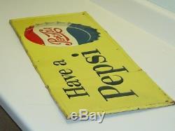 Vintage Advertising Tin Pepsi Sign, Soda Pop, Original, Have A Pepsi M-156