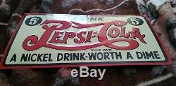 Vintage! Advertising tin Drink Pepsi Cola 5¢ Soda Pop Metal Nickel Drink-Worth
