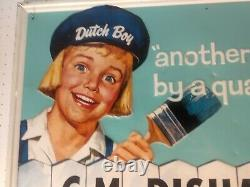 Vintage Advertising tin Sign Dutch boy paint c m disharoon Salisbury Maryland