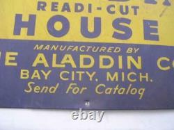 Vintage Aladdin Readi-Cut House 19 3/8 x 27 7/16 Tin Sign Bay City MI