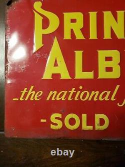 Vintage Albert Tobacco Embossed Sign tin tacker 22x14