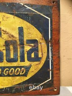 Vintage Antique 12x19 Rustic Tin Advertising Sign Drink Chero-Cola