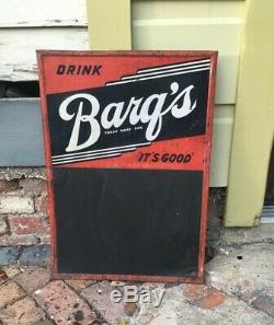 Vintage Antique BARQ'S ROOT BEER Embossed Tin Non Porcelain Menu Board Sign