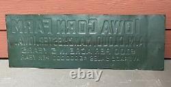Vintage Antique Buy an Iowa Corn Farm Scioto Sign Co. Embossed Tin Sign