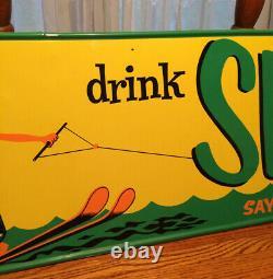 Vintage Antique Drink Ski Soda Cola Tin Non Porcelain Door Push Kicker Sign WOW