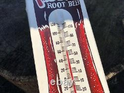 Vintage Antique Frostie Root Beer Cola Tin Non Porcelain Thermometer Bottle Sign