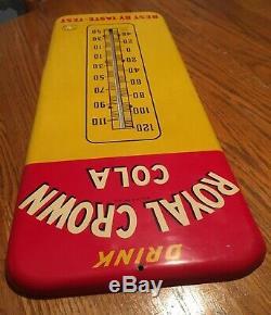 Vintage Antique Nehi Co. Royal Crown Cola RC Tin Non Porcelain Thermometer Sign