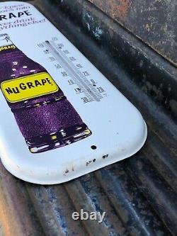 Vintage Antique NuGrape Nu Grape Cola Tin Non Porcelain Thermometer Bottle Sign