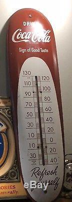 Vintage Antique Soda Coke Coca Cola Tin Non Porcelain Cigar Thermometer Sign WOW