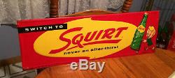 Vintage Antique Squirt Soda Cola Tin Non Porcelain Bottle Country Store Sign WOW