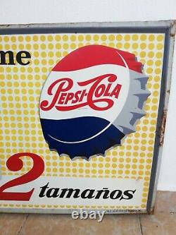 Vintage Antique Tome Pepsi Cola Mexican Embossed tin metal sign adv from 50´s #4