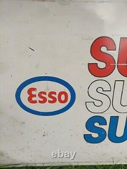 Vintage Automobilia Esso Superlube Tin Sign 1980s Original Double Sided