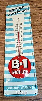 Vintage B-1 B1 Lemon Lime Soda Embossed Button Logo Tin Thermometer Sign
