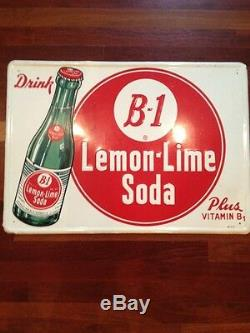 Vintage B-1 Lemon Lime Soda Tin Sign Soda Pop Advertisement 1940's