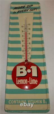 Vintage B-1 Lemon Lime Soda Tin Thermometer sign