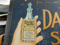 Vintage Barber Shop Dandro Solvent Hair Tonic Bottle Tin Sign