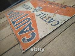 Vintage Beacon Feeds Cattle Crossing Tin Embossed Sign