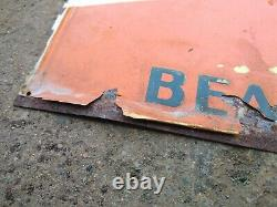 Vintage Beacon Feeds Cattle Crossing Tin Sign