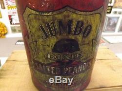 Vintage Black Americana DIXIE Jumbo Salted Peanuts Tin Kelly Peanut Boston MA