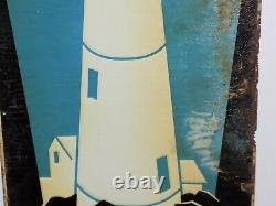 Vintage Blue Beacon Coal Tin Embossed Sign