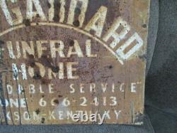 Vintage Bob Gabbard Funeral Home Tin Advertising Sign Jackson KY Kentucky