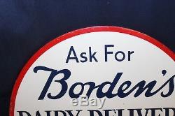 Vintage Bordens Dairy Milk Advertising Flange Tin Sign 16