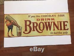 Vintage Brownie Soda Embossed Horizontal Tin Sign 1920's-1930's New Old Stock