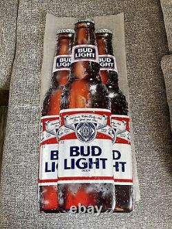 Vintage Bud Light Beer Metal Tin Sign Budweiser RARE 1989 30 x 13