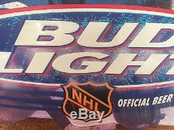 Man Cave Hockey Signs : Vintage bud light beer tin metal sign nhl hockey goalie man cave