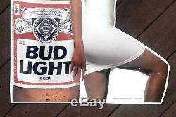 Vintage Bud Light Woman Lady Model Beer Metal Tin Sign Budweiser RARE 1990