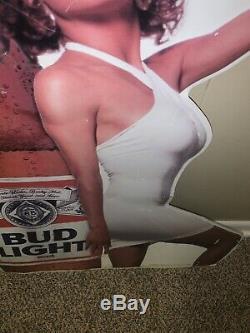Vintage Bud Light Woman Model Embossed Tin Budweiser Beer Advertising Sign 1990