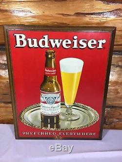 Vintage Budweiser Tin Over Cardboard Sign Preferred Everywhere Tin Litho