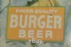 Vintage Burger Beer Tin over Cardboard Sign Hunting dogs scene 1940's