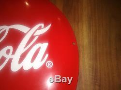 Vintage COCA COLA Advertising Porcelain Enamel Tin Sign Plate 20'