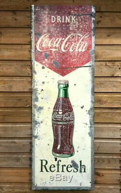 Vintage COCA COLA Tin Plate Advertising Sign by N. L. COWLING 18x52 1950s 60s