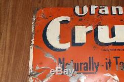 Vintage CUT UP! Orange Crush Soda Pop Bottle Gas Station Tin Metal Sign
