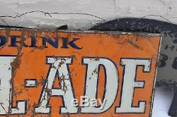 Vintage Cal-ade Not Crush Orange Cola 35 X 17 Soda Pop Bottle Tin Sign Rare