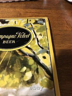 Vintage Champagne Velvet Beer Sign Tin Over Cardboard