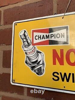 Vintage Champion Spark Plugs Tin Sign Advertising Automobilia Garage Oil