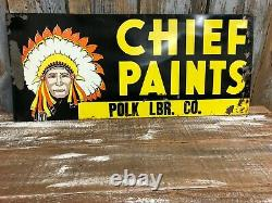Vintage Chief Paints Double Sided Tin Sign