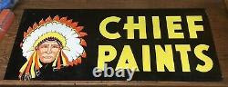 Vintage Chief Paints Double-Sided Tin Sign 12x28