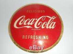 Vintage Coca Cola Coke Round SODA COLA Celluloid & Tin Original Advertising SIGN