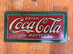 Vintage Coca Cola In Bottles Tin Over Cardboard 1922 Rare Sign